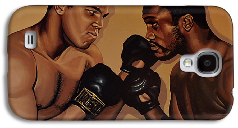 Mohammed Ali Versus Joe Frazier Galaxy S4 Case featuring the painting Muhammad Ali And Joe Frazier by Paul Meijering