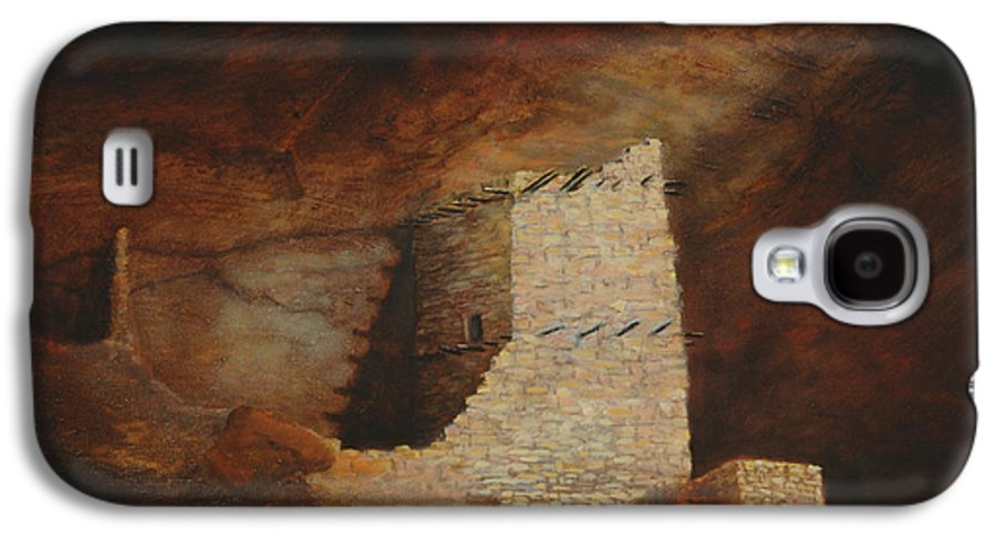 Anasazi Galaxy S4 Case featuring the painting Mummy Cave by Jerry McElroy