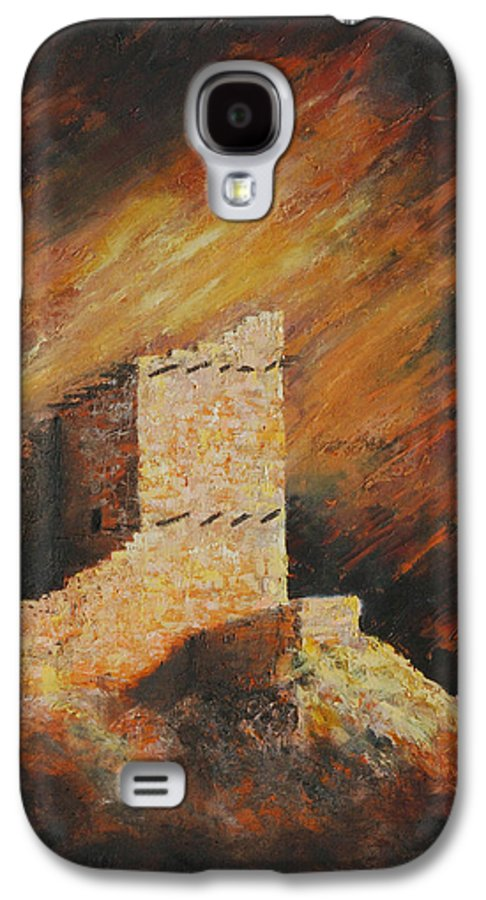 Anasazi Galaxy S4 Case featuring the painting Mummy Cave Ruins 2 by Jerry McElroy