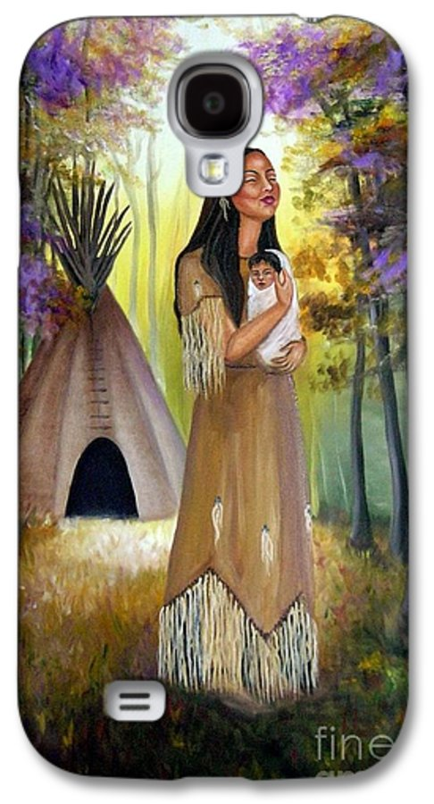 Native American Galaxy S4 Case featuring the painting Native American Mother And Child by Lora Duguay