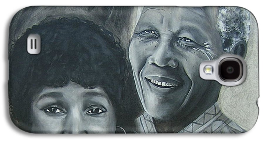 From Black & White Series Galaxy S4 Case featuring the painting Nelson And Winnie by Howard Stroman