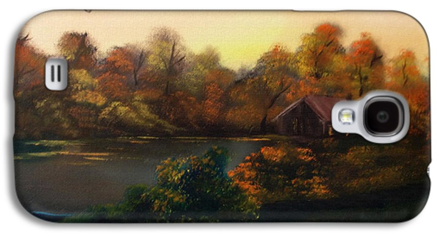#landscape Galaxy S4 Case featuring the mixed media New Day In Autumn Sold by Cynthia Adams