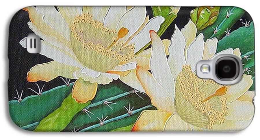 Acrylic Galaxy S4 Case featuring the painting Night Blooming Cacti by Carol Sabo