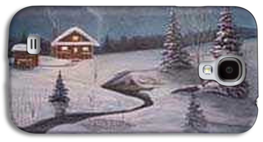 Rick Huotari Galaxy S4 Case featuring the painting North Woods Cabin by Rick Huotari