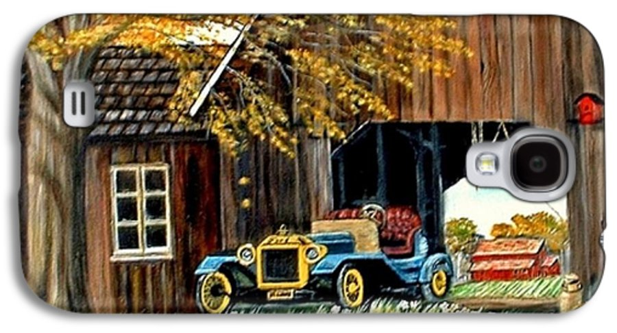 Old Barn Car Galaxy S4 Case featuring the painting Old Barn And Old Car by Kenneth LePoidevin