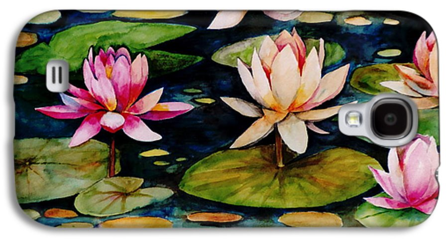 Lily Galaxy S4 Case featuring the painting On Lily Pond by Jun Jamosmos