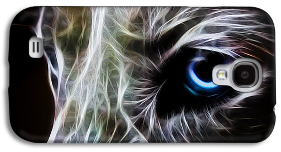 Wolf Galaxy S4 Case featuring the digital art One Eye by Aged Pixel