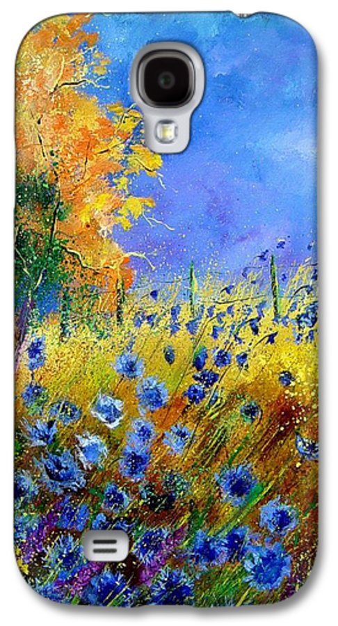 Poppies Galaxy S4 Case featuring the painting Orange Tree And Blue Cornflowers by Pol Ledent