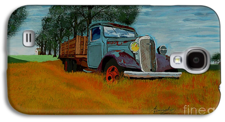 Truck Galaxy S4 Case featuring the painting Out To Pasture by Anthony Dunphy