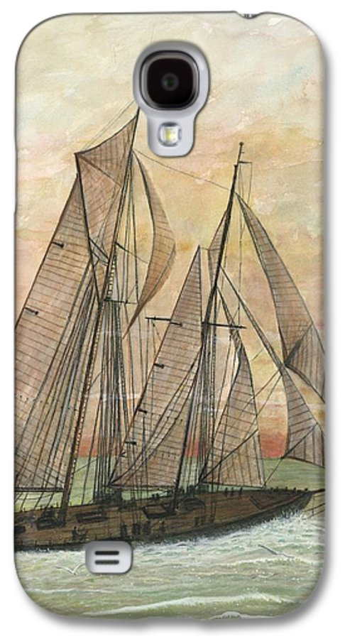 Sailboat; Ocean; Sunset Galaxy S4 Case featuring the painting Out To Sea by Ben Kiger