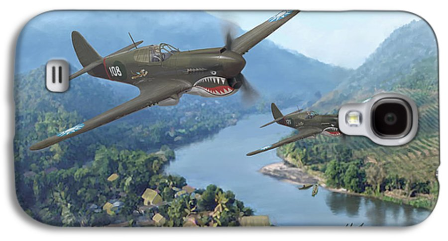 Airplanes Galaxy S4 Case featuring the painting P-40 Warhawks Of The 23rd Fg by Mark Karvon