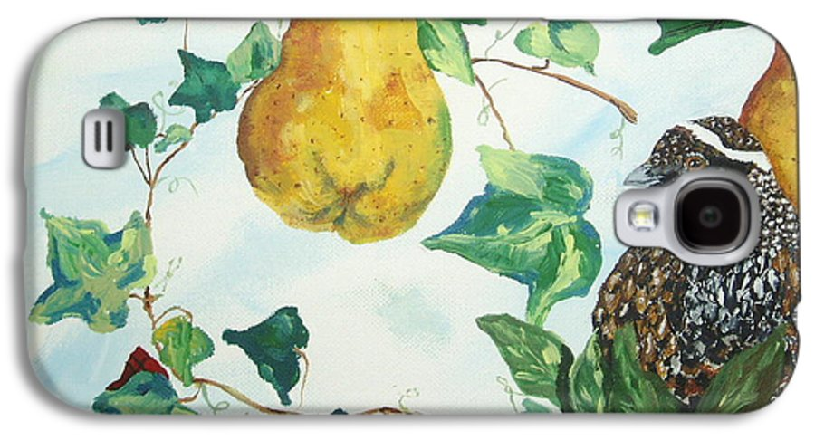Tree Galaxy S4 Case featuring the painting Partridge And Pears by Reina Resto