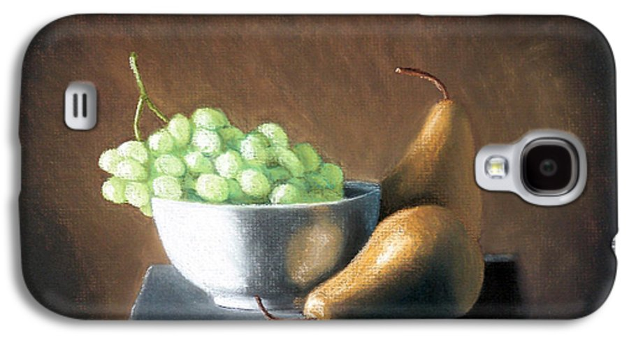Pastel Galaxy S4 Case featuring the painting Pears And Grapes by Joseph Ogle