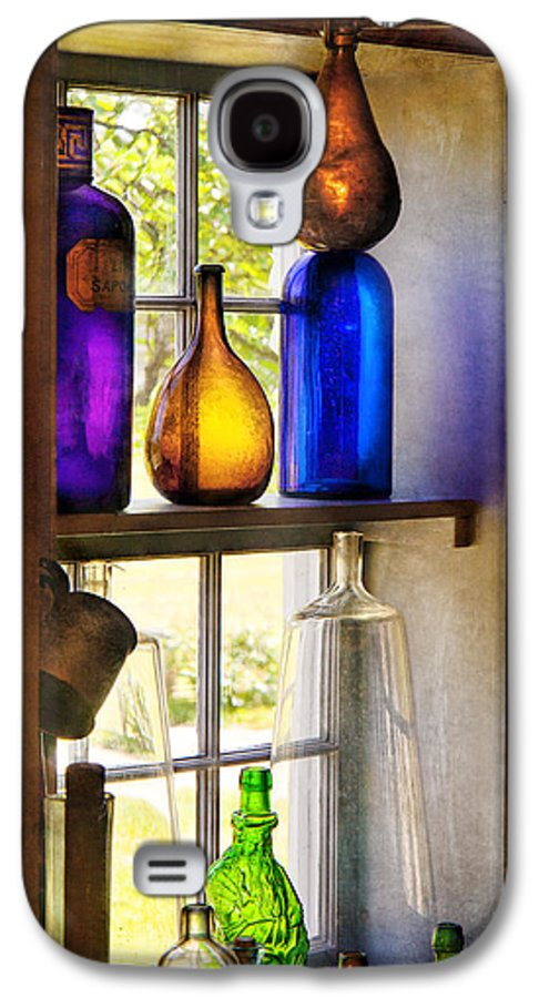 Hdr Galaxy S4 Case featuring the photograph Pharmacy - Colorful Glassware by Mike Savad