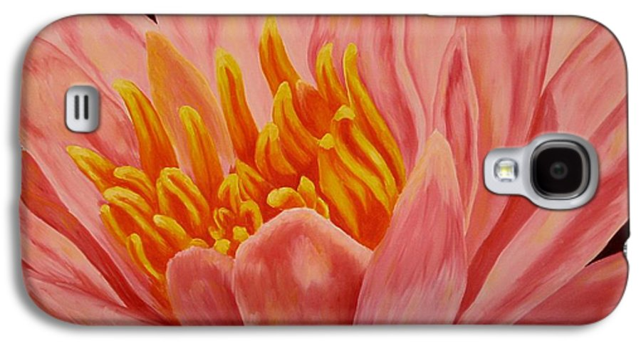 Oil Galaxy S4 Case featuring the painting Pink Waterlily by Darla Brock