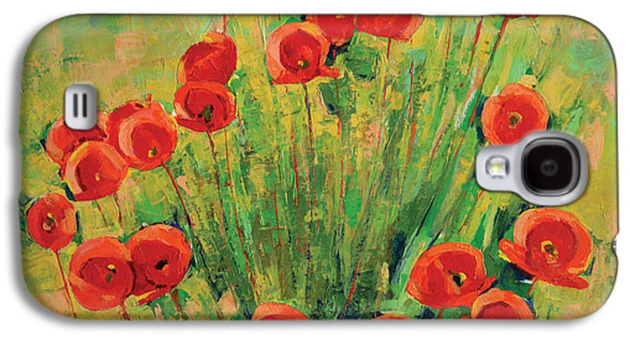 Poppies Galaxy S4 Case featuring the painting Poppies by Iliyan Bozhanov