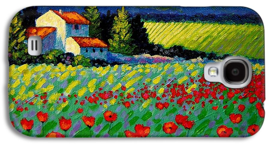 Poppies Galaxy S4 Case featuring the painting Poppy Field - Provence by John Nolan