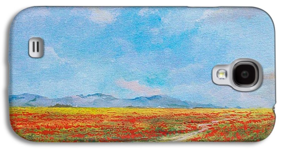 Poppy Field Galaxy S4 Case featuring the painting Poppy Field by Sinisa Saratlic