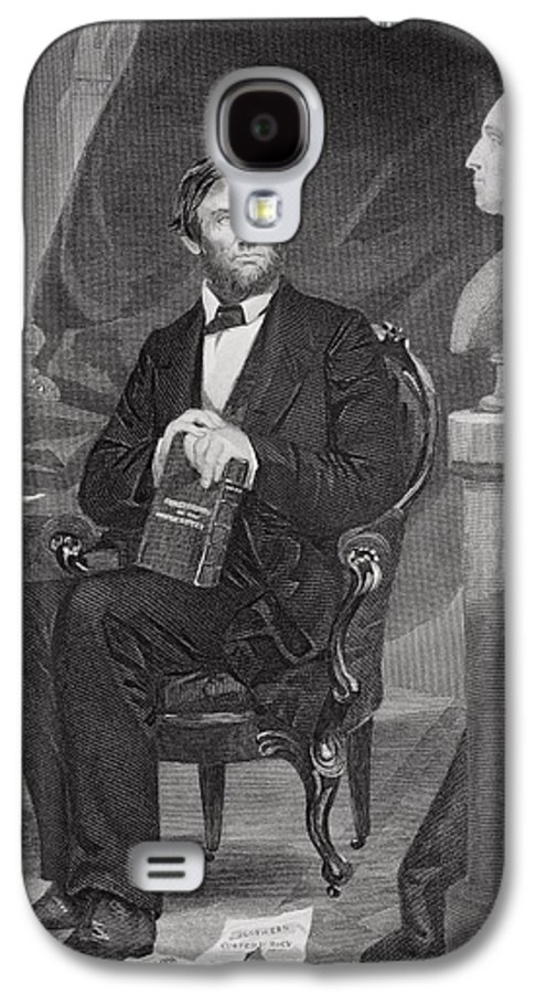 Male Galaxy S4 Case featuring the painting Portrait Of Abraham Lincoln by Alonzo Chappel