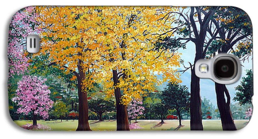 Tree Painting Landscape Painting Caribbean Painting Poui Tree Yellow Blossoms Trinidad Queens Park Savannah Port Of Spain Trinidad And Tobago Painting Savannah Tropical Painting Galaxy S4 Case featuring the painting Poui Trees In The Savannah by Karin Dawn Kelshall- Best