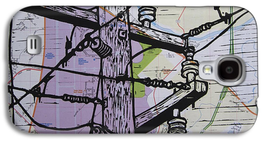 Power Galaxy S4 Case featuring the drawing Power Lines On Map by William Cauthern
