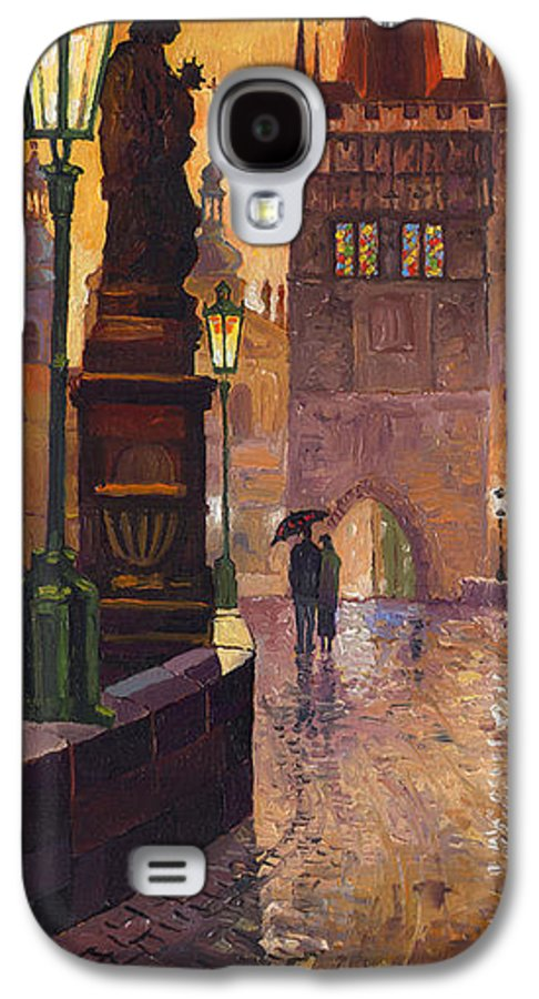 Prague Galaxy S4 Case featuring the painting Prague Charles Bridge 01 by Yuriy Shevchuk
