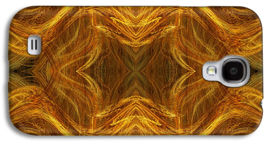 Abstract Galaxy S4 Case featuring the digital art Precious Metal 3 Ocean Waves Dark Gold by Andee Design