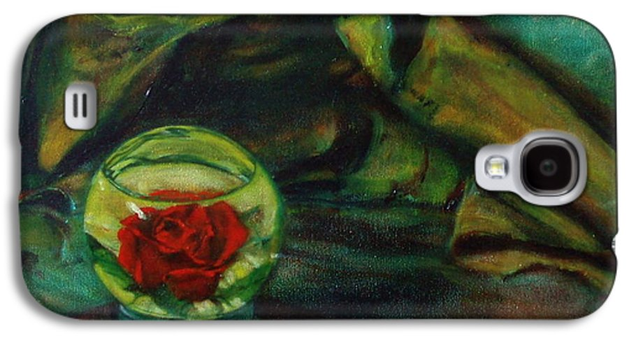 Still Life Galaxy S4 Case featuring the painting Preserved Rose . . Draped Canvas by Sean Connolly