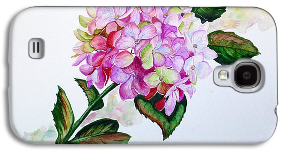 Hydrangea Painting Floral Painting Flower Pink Hydrangea Painting Botanical Painting Flower Painting Botanical Painting Greeting Card Painting Painting Galaxy S4 Case featuring the painting Pretty In Pink by Karin Dawn Kelshall- Best