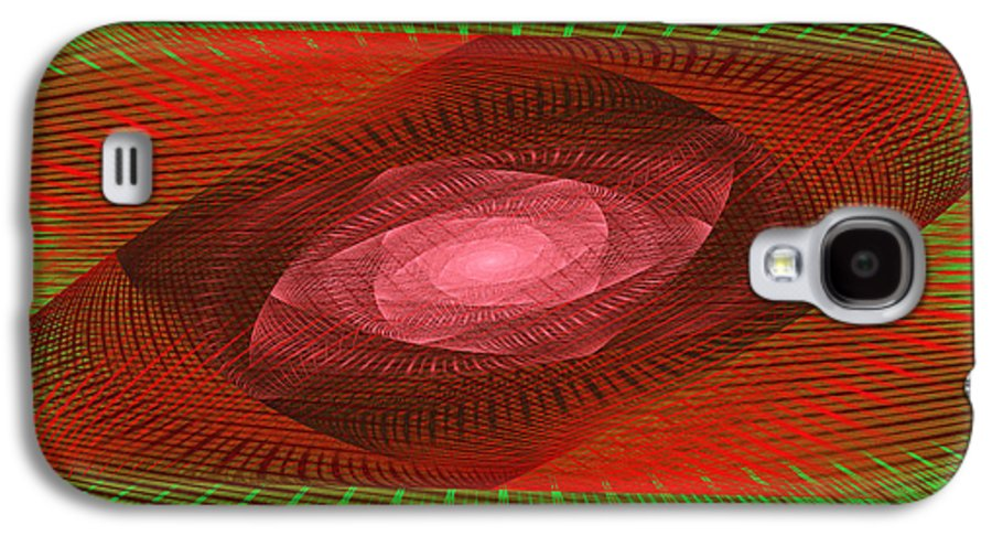 Round Galaxy S4 Case featuring the photograph Psychedelic Spiral Vortex Green And Red Fractal Flame by Keith Webber Jr
