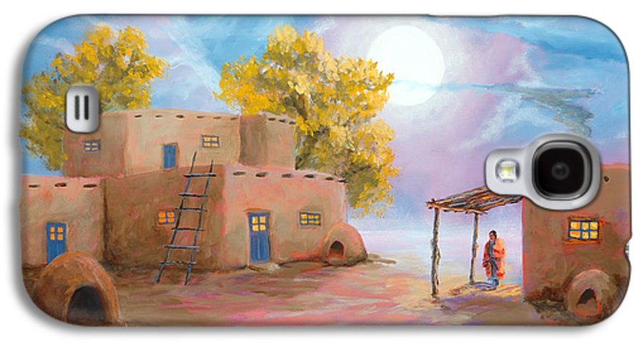 Pueblo Galaxy S4 Case featuring the painting Pueblo De Las Lunas by Jerry McElroy