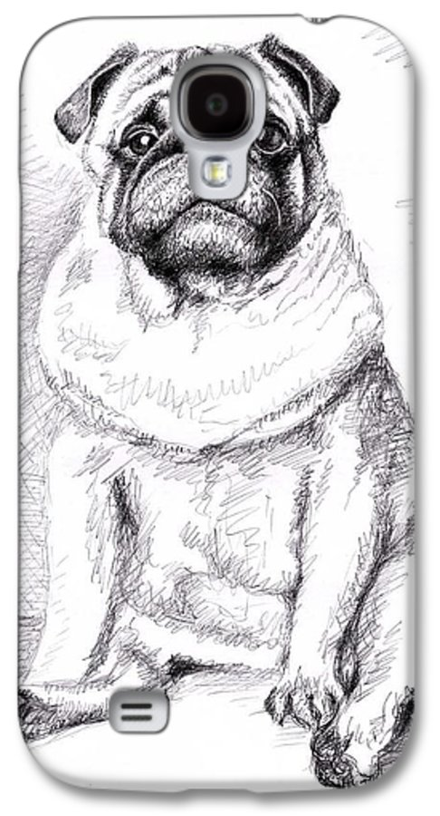 Dog Galaxy S4 Case featuring the drawing Pug Anton by Nicole Zeug