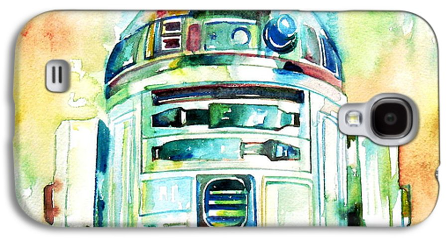 R2-d2 Galaxy S4 Case featuring the painting R2-d2 Watercolor Portrait by Fabrizio Cassetta