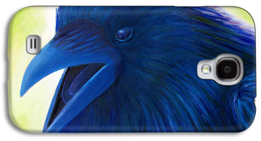 Raven Galaxy S4 Case featuring the painting Raaawk by Brian Commerford