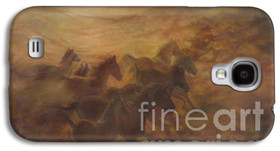 Horse Galaxy S4 Case featuring the painting Racing The Wind by Wendy Froshay