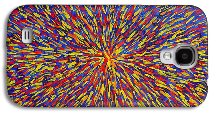 Abstract Galaxy S4 Case featuring the painting Radiation Blue by Dean Triolo