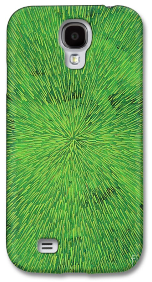 Abstract Galaxy S4 Case featuring the painting Radiation Green by Dean Triolo