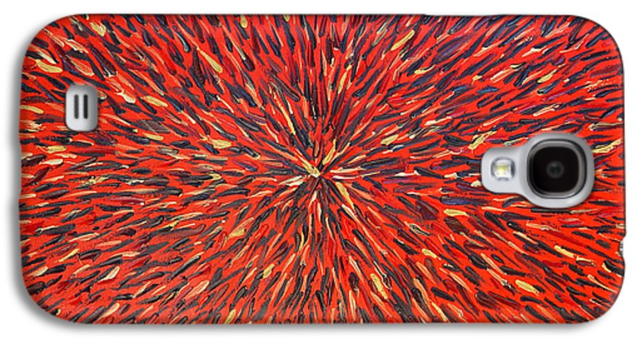 Abstract Galaxy S4 Case featuring the painting Radiation Red by Dean Triolo