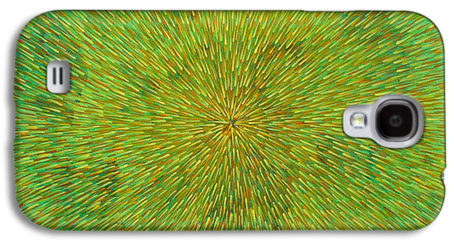 Abstract Galaxy S4 Case featuring the painting Radiation With Green Yellow And Orange by Dean Triolo