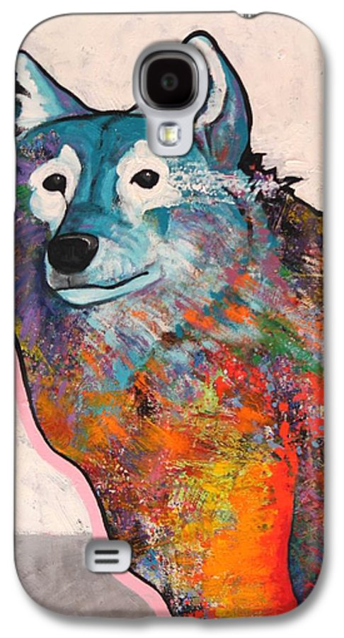 Animal Galaxy S4 Case featuring the painting Rainbow Warrior - Alfa Wolf by Joe Triano