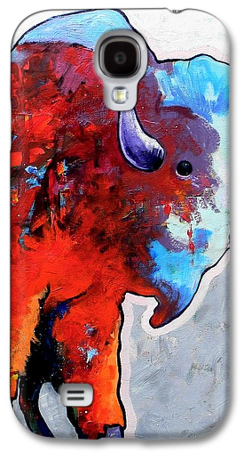 Wildlife Galaxy S4 Case featuring the painting Rainbow Warrior Bison by Joe Triano
