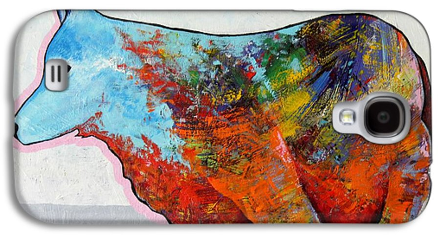 Animal Galaxy S4 Case featuring the painting Rainbow Warrior - Coyote by Joe Triano