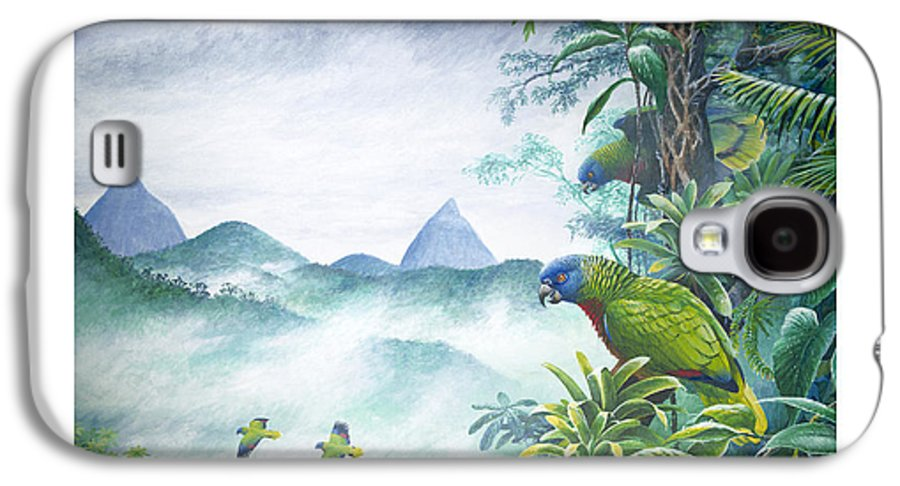 Chris Cox Galaxy S4 Case featuring the painting Rainforest Realm - St. Lucia Parrots by Christopher Cox