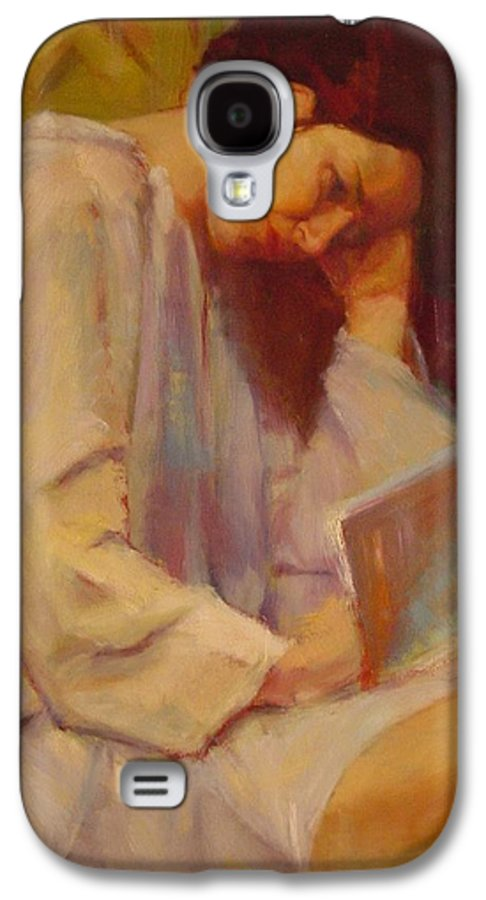 Figure Galaxy S4 Case featuring the painting Reading In The Blue Robe by Irena Jablonski