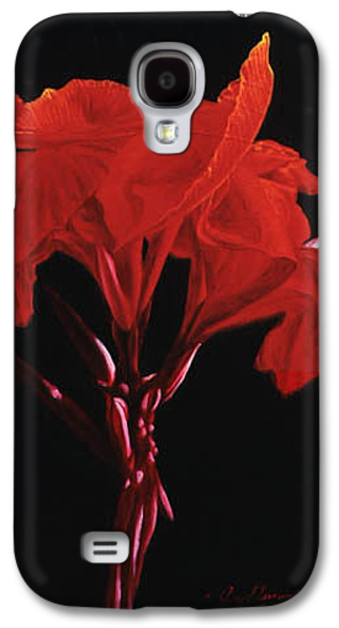 Floral Galaxy S4 Case featuring the painting Red Canna by Gary Hernandez