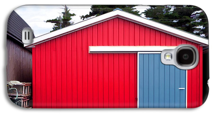 Red Galaxy S4 Case featuring the photograph Red Fishing Shack Pei by Edward Fielding