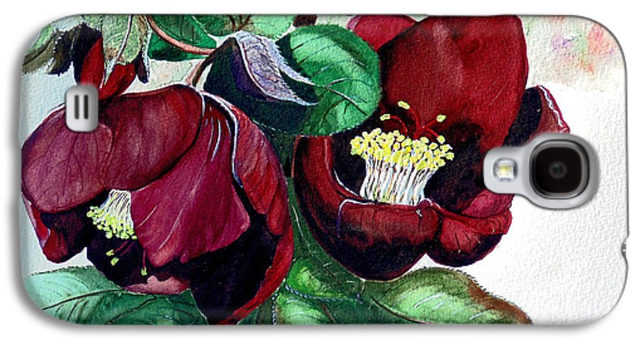 Red Helleborous Painting Flower Painting  Botanical Painting Watercolor Painting Original Painting Floral Painting Flower Painting Red Painting  Greeting Painting Galaxy S4 Case featuring the painting Red Helleborous by Karin Dawn Kelshall- Best