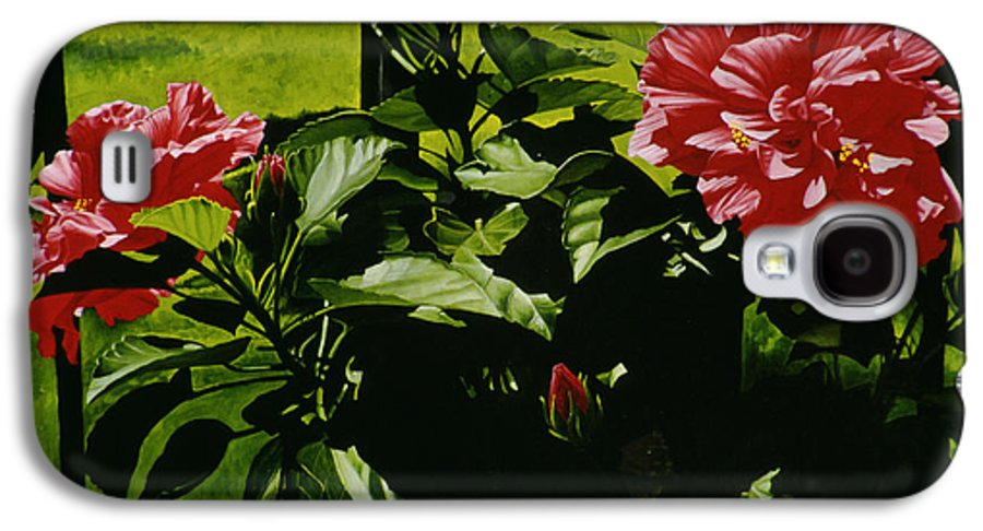 Floral Galaxy S4 Case featuring the painting Red Hibiscus by Gary Hernandez