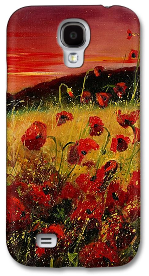 Poppies Galaxy S4 Case featuring the painting Red Poppies And Sunset by Pol Ledent