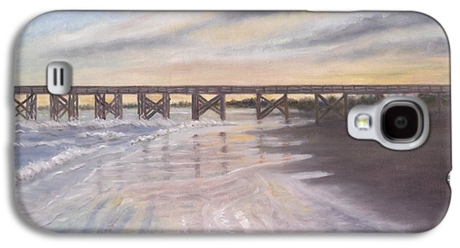 Beach; Pier; Low Country Galaxy S4 Case featuring the painting Reflections by Ben Kiger